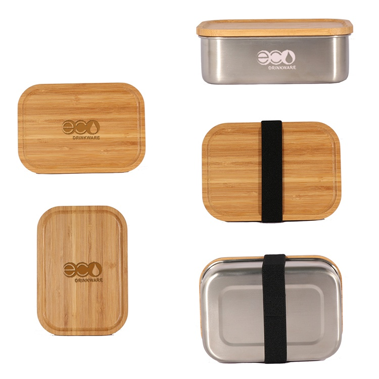 In Stock Eco-friendly Stainless Steel Lunch Box Soup Food Container with Bamboo Lid Cap