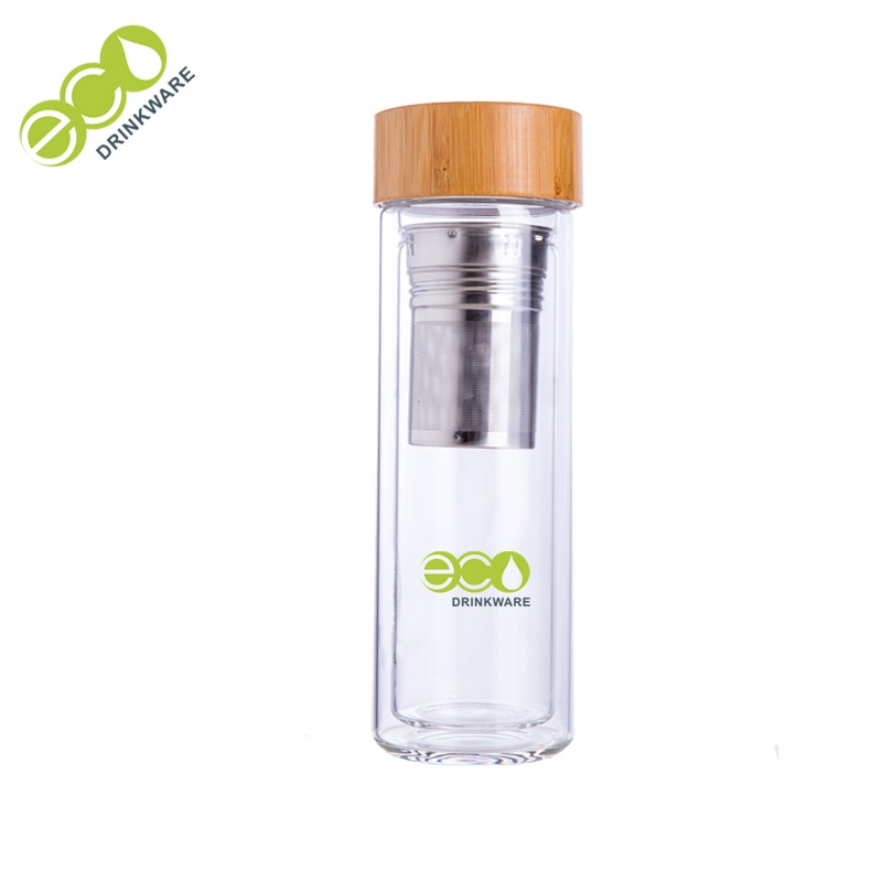350ml Eco-friendly glass material double wall drinking water filter bottle with custom your own logo