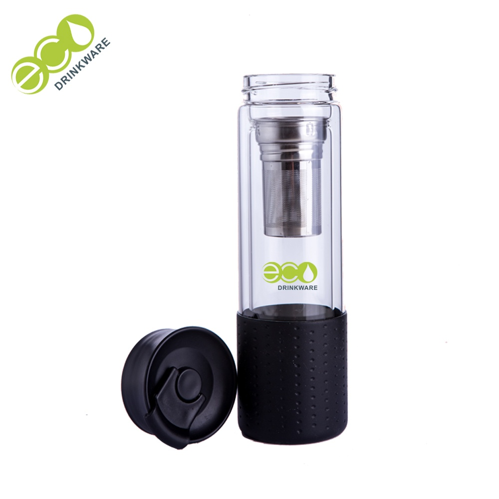 flip lid double wall borosilicate glass infuser drinking tea bottle flask tumbler with silicone sleeve