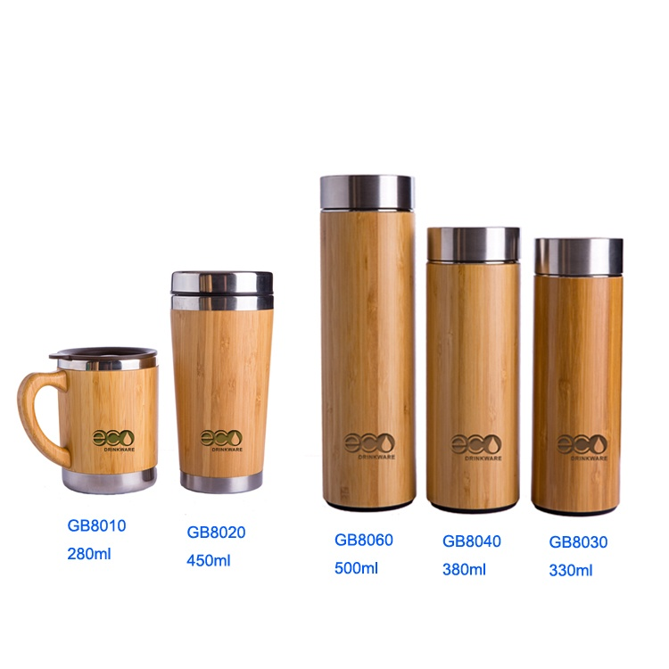 No minimum Natural Stainless Steel bamboo Vacuum Insulated infuser bamboo coffee cup