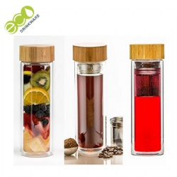Eco Friendly Double Wall Fruit Tea Infuser Glass Bottle with Nature Bamboo Lid