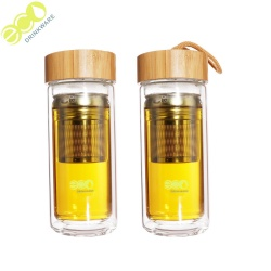 Wholesale custom logo 500ml double wall glass infuser water drinking bottle