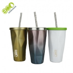 No Minimum Double wall travel thermos vacuum flasks with straw