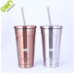 No minimum double wall stainless steel vacuum flask thermos with straw