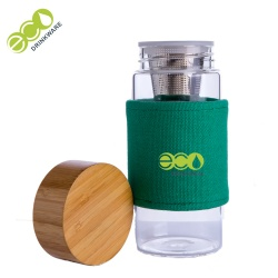 Custom logo borosilicate glass infuser drinking bottle with bamboo lid 500ml