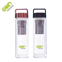 BPA free GA6080 450ML/16OZ shiny handle lid double wall borosilicate glass tea infuser water bottle with tea filter