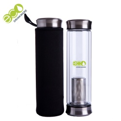 No minimum BPA free double wall glass bottle with tea infuser