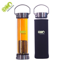 No minimum BPA free double stainless lid tea double wall infuser glass drinking water bottle with tea infuser