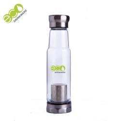 Custom logo single wall borosilicate glass water bottle
