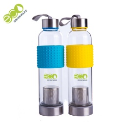 Custom logo single wall borosilicate glass water bottle with silicone sleeve