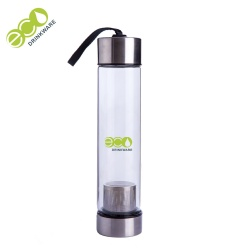 Custom logo single wall borosilicate glass drinking bottle with tea infuser