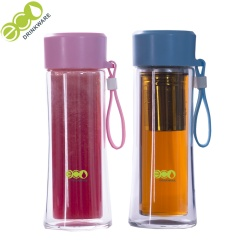 300ml personalized Wholesale fashion BPA free eco friendly easy clean Double wall glass water bottle