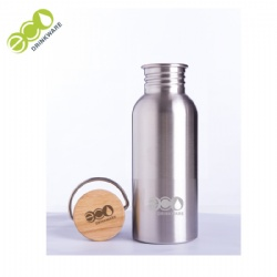 GS002 500ml 18/8 stainless steel single wall sport bamboo lid water bottle