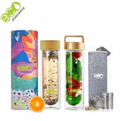 Double Wall Glass Bottle Series with 304 stainless steel tea infuser